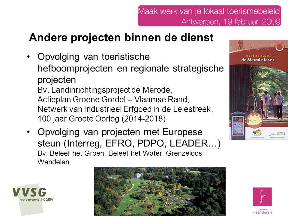 Opvolging van toeristische hefboomprojecten en regionale strategische projecten Bv. Landinrichtingsproject de Merode, Actieplan Groene Gordel – Vlaams