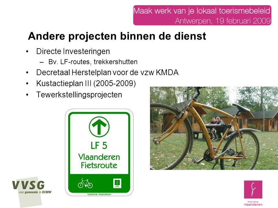 Directe Investeringen –Bv. LF-routes, trekkershutten Decretaal Herstelplan voor de vzw KMDA Kustactieplan III (2005-2009) Tewerkstellingsprojecten And