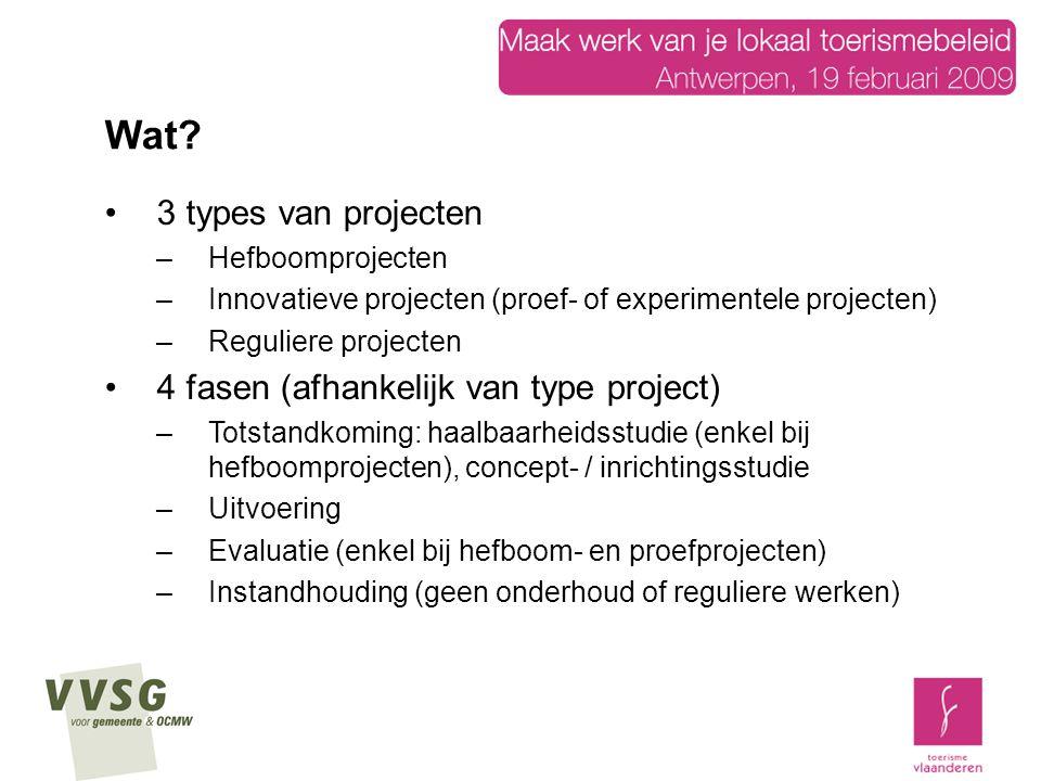 3 types van projecten –Hefboomprojecten –Innovatieve projecten (proef- of experimentele projecten) –Reguliere projecten 4 fasen (afhankelijk van type