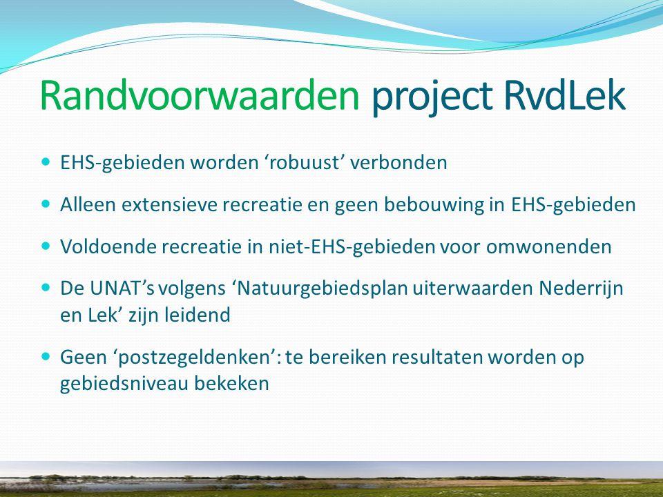 Randvoorwaarden project RvdLek EHS-gebieden worden 'robuust' verbonden Alleen extensieve recreatie en geen bebouwing in EHS-gebieden Voldoende recreatie in niet-EHS-gebieden voor omwonenden De UNAT's volgens 'Natuurgebiedsplan uiterwaarden Nederrijn en Lek' zijn leidend Geen 'postzegeldenken': te bereiken resultaten worden op gebiedsniveau bekeken