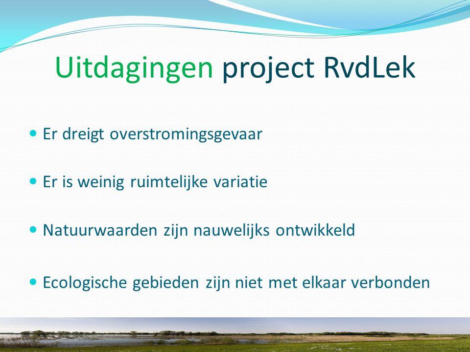 Uitdagingen project RvdLek Er dreigt overstromingsgevaar Er is weinig ruimtelijke variatie Natuurwaarden zijn nauwelijks ontwikkeld Ecologische gebieden zijn niet met elkaar verbonden