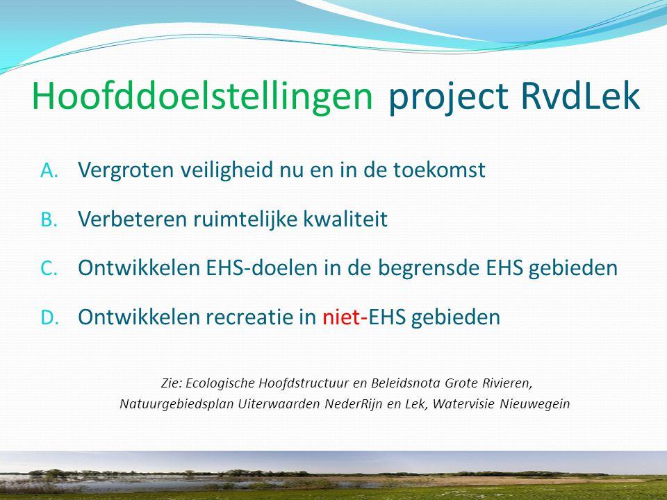 Hoofddoelstellingen project RvdLek A. Vergroten veiligheid nu en in de toekomst B.