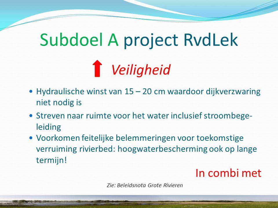 Subdoel A project RvdLek Veiligheid Hydraulische winst van 15 – 20 cm waardoor dijkverzwaring niet nodig is Streven naar ruimte voor het water inclusief stroombege- leiding Voorkomen feitelijke belemmeringen voor toekomstige verruiming rivierbed: hoogwaterbescherming ook op lange termijn.