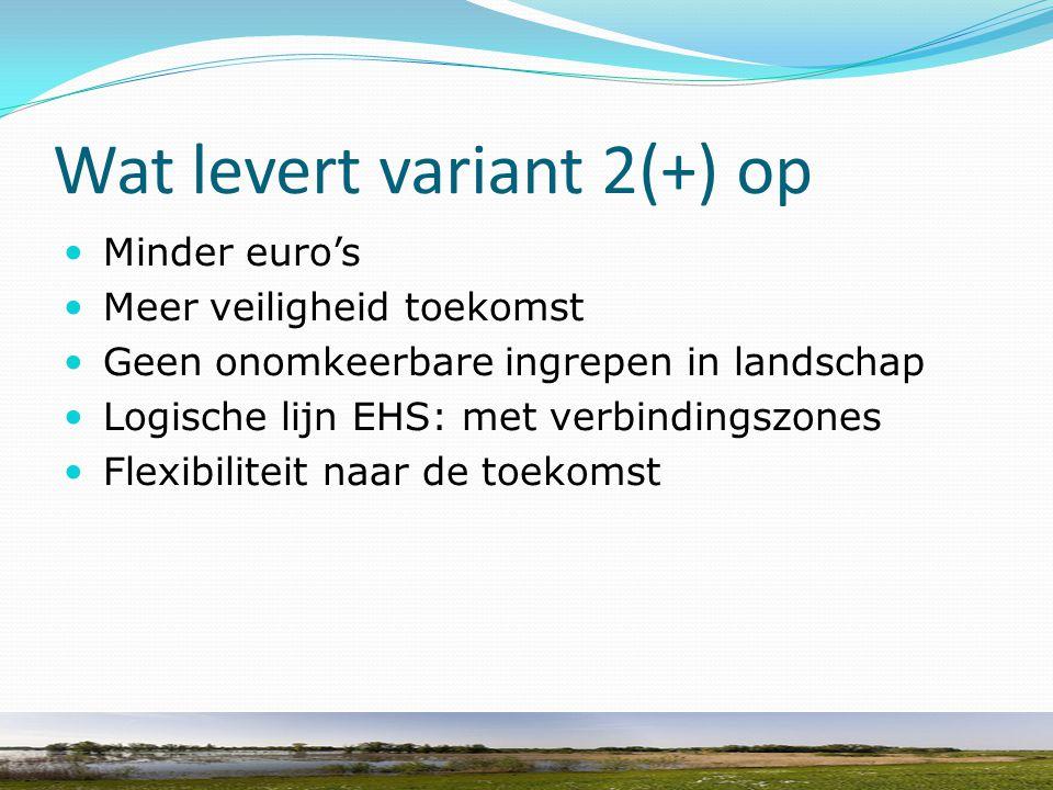 Wat levert variant 2(+) op Minder euro's Meer veiligheid toekomst Geen onomkeerbare ingrepen in landschap Logische lijn EHS: met verbindingszones Flex