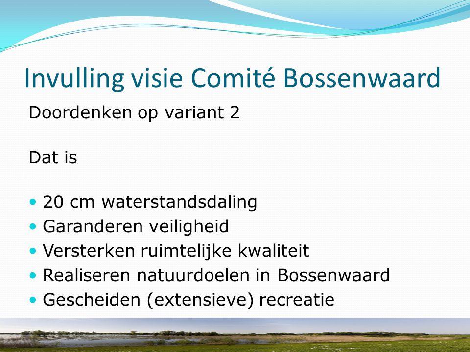 Invulling visie Comité Bossenwaard Doordenken op variant 2 Dat is 20 cm waterstandsdaling Garanderen veiligheid Versterken ruimtelijke kwaliteit Reali