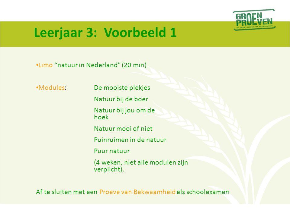 """Leerjaar 3: Voorbeeld 1 Limo """"natuur in Nederland"""" (20 min) Modules: De mooiste plekjes Natuur bij de boer Natuur bij jou om de hoek Natuur mooi of ni"""