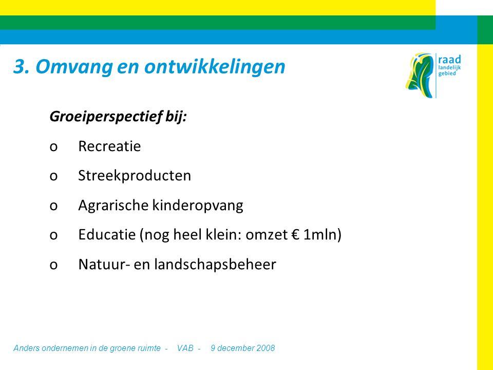 Anders ondernemen in de groene ruimte - VAB -9 december 2008 Groeiperspectief bij: oRecreatie oStreekproducten oAgrarische kinderopvang oEducatie (nog heel klein: omzet € 1mln) oNatuur- en landschapsbeheer 3.