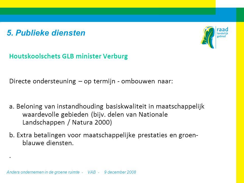 Anders ondernemen in de groene ruimte - VAB -9 december 2008 Houtskoolschets GLB minister Verburg Directe ondersteuning – op termijn - ombouwen naar: a.
