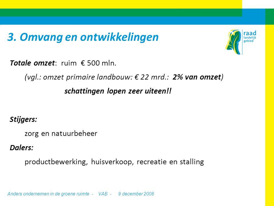 Anders ondernemen in de groene ruimte - VAB -9 december 2008 oVooral gericht op ontwikkeling robuuste ketens en netwerkstructuren oVeel discussie over ketenomkering: 'individuele creatievelingen' vs.