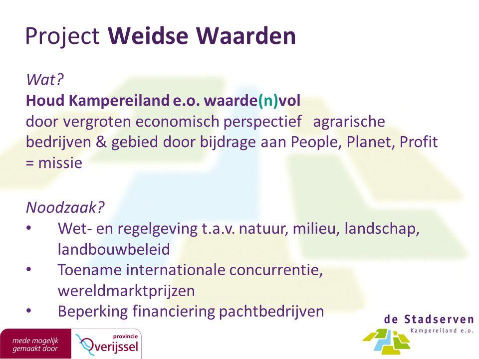 Wat? Houd Kampereiland e.o. waarde(n)vol door vergroten economisch perspectief agrarische bedrijven & gebied door bijdrage aan People, Planet, Profit