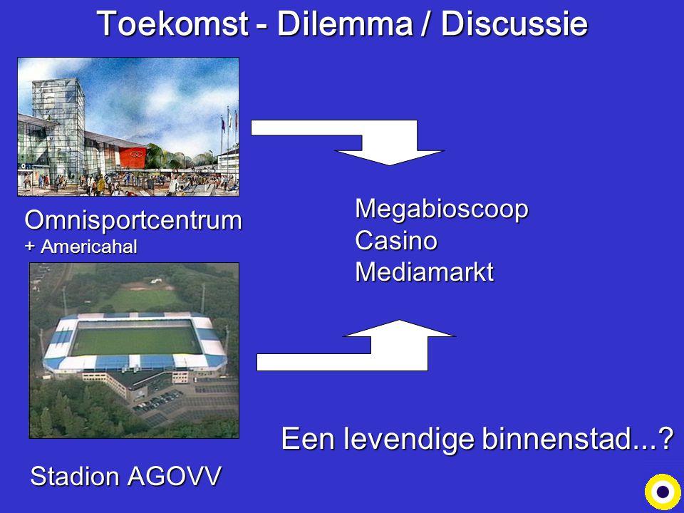 Toekomst - Dilemma / Discussie Megabioscoop Casino Mediamarkt Omnisportcentrum + Americahal Stadion AGOVV Een levendige binnenstad...?