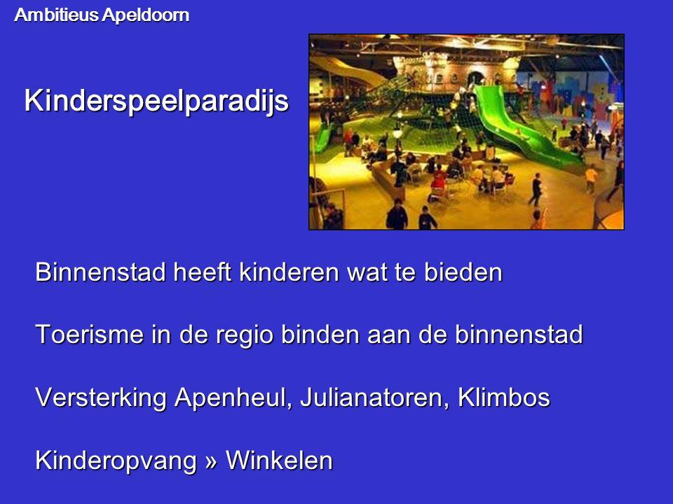 Ambitieus Apeldoorn Kinderspeelparadijs Binnenstad heeft kinderen wat te bieden Toerisme in de regio binden aan de binnenstad Versterking Apenheul, Ju