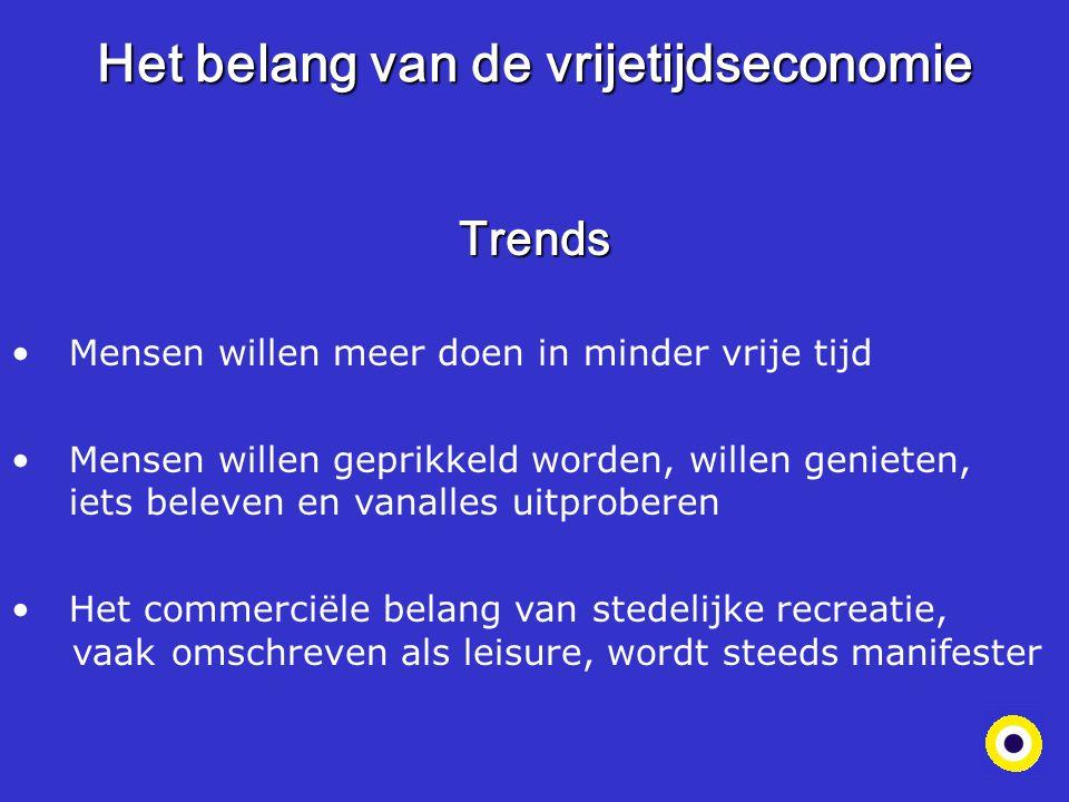 Het belang van de vrijetijdseconomie Trends Mensen willen meer doen in minder vrije tijd Mensen willen geprikkeld worden, willen genieten, f.dfiets be