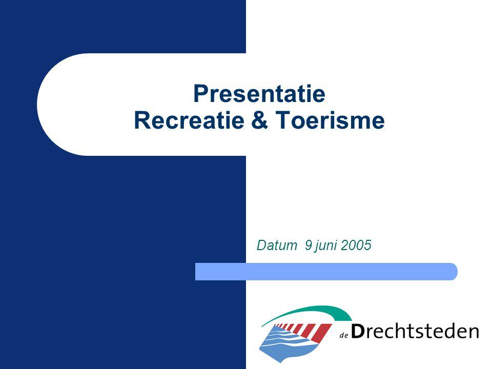Presentatie Recreatie & Toerisme Datum 9 juni 2005