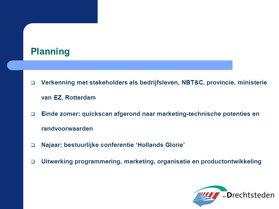 Planning  Verkenning met stakeholders als bedrijfsleven, NBT&C, provincie, ministerie van EZ, Rotterdam  Einde zomer: quickscan afgerond naar market