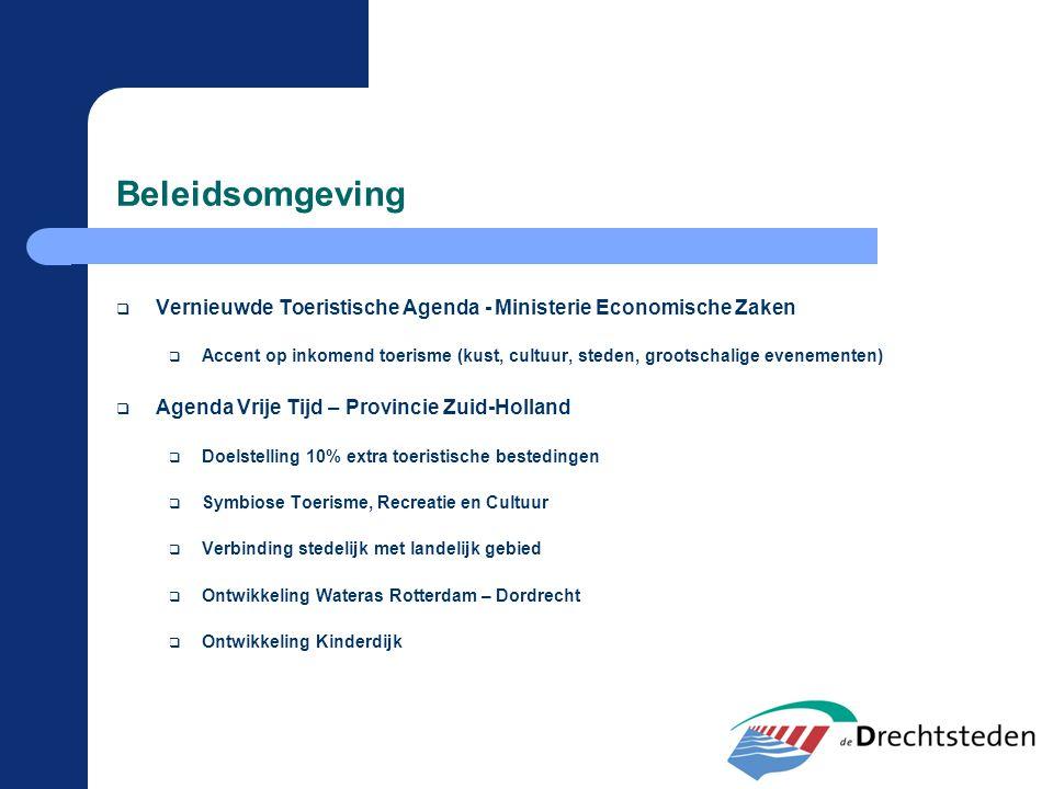 Beleidsomgeving  Vernieuwde Toeristische Agenda - Ministerie Economische Zaken  Accent op inkomend toerisme (kust, cultuur, steden, grootschalige ev