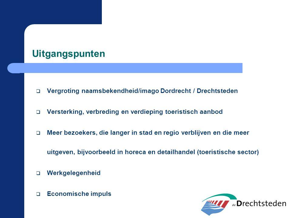 Uitgangspunten  Vergroting naamsbekendheid/imago Dordrecht / Drechtsteden  Versterking, verbreding en verdieping toeristisch aanbod  Meer bezoekers