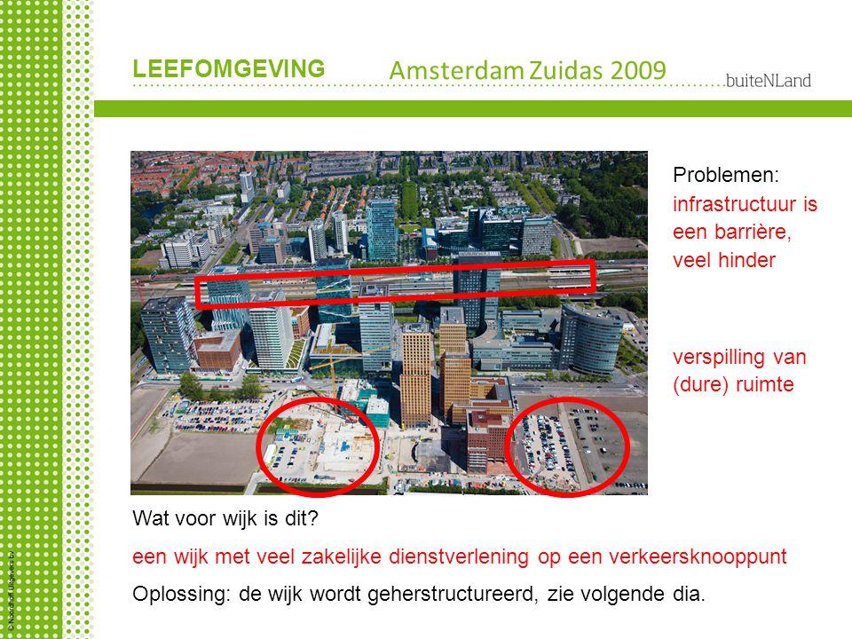 LEEFOMGEVING Amsterdam Zuidas 2009 Wat voor wijk is dit? een wijk met veel zakelijke dienstverlening op een verkeersknooppunt verspilling van (dure) r