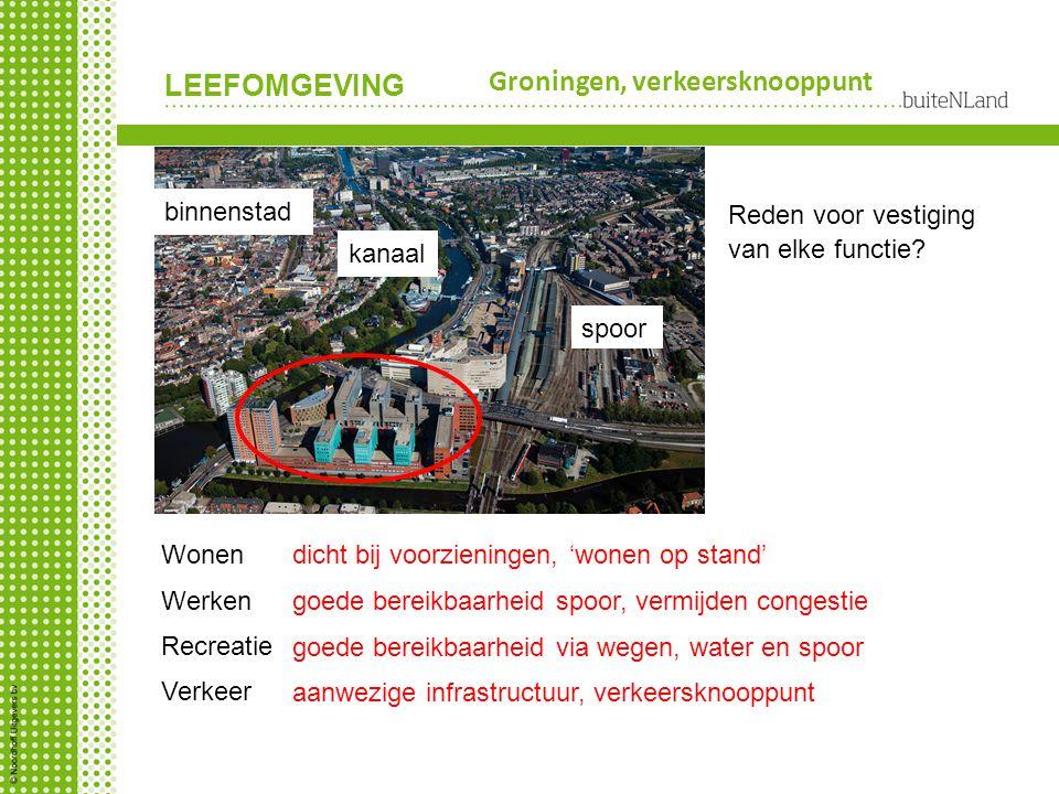 LEEFOMGEVING Groningen, verkeersknooppunt Reden voor vestiging van elke functie? aanwezige infrastructuur, verkeersknooppunt kanaal spoor binnenstad W