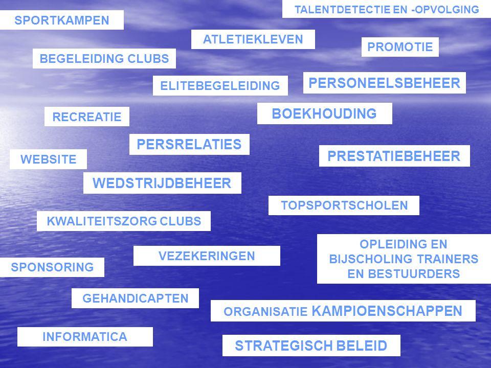 ELITEBEGELEIDING BOEKHOUDING WEBSITE OPLEIDING EN BIJSCHOLING TRAINERS EN BESTUURDERS SPORTKAMPEN PERSONEELSBEHEER VEZEKERINGEN ORGANISATIE KAMPIOENSC