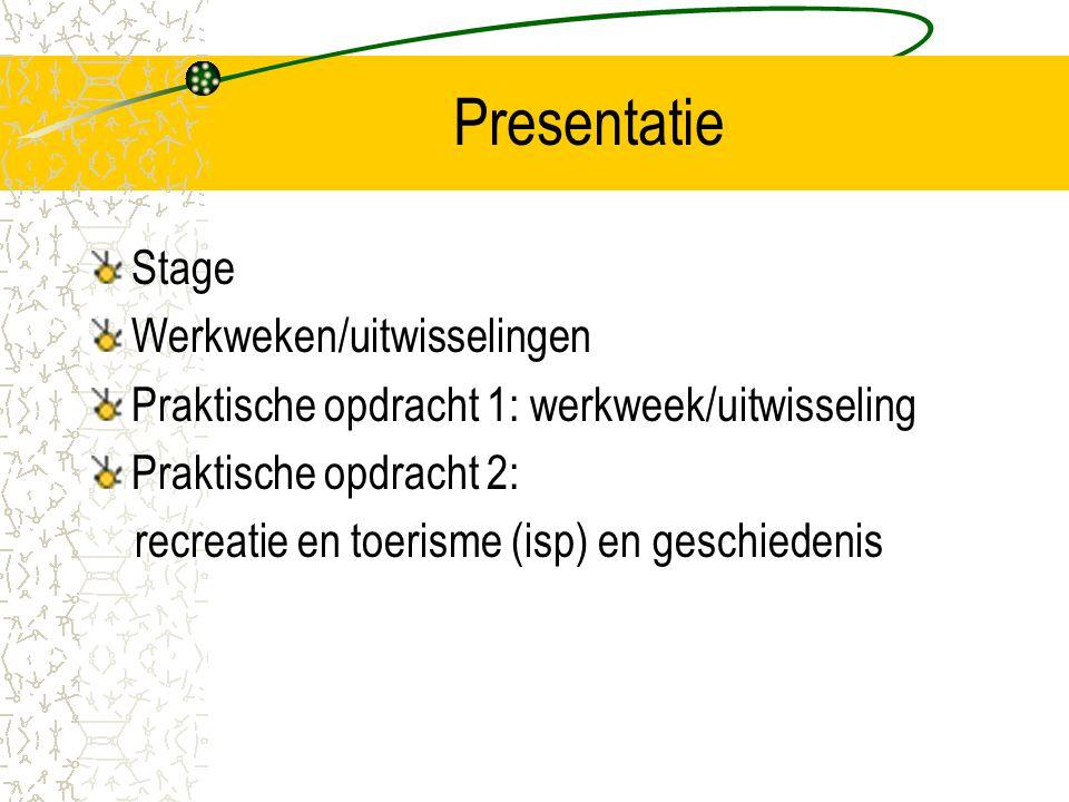 Presentatie Stage Werkweken/uitwisselingen Praktische opdracht 1: werkweek/uitwisseling Praktische opdracht 2: recreatie en toerisme (isp) en geschied