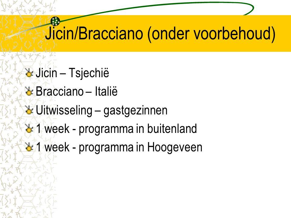 Jicin/Bracciano (onder voorbehoud) Jicin – Tsjechië Bracciano – Italië Uitwisseling – gastgezinnen 1 week - programma in buitenland 1 week - programma