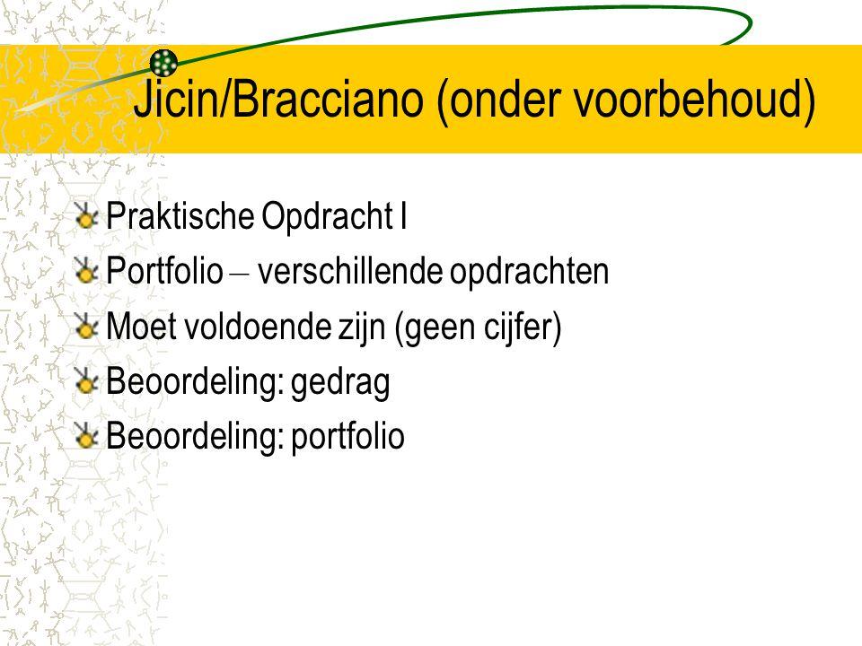 Jicin/Bracciano (onder voorbehoud) Praktische Opdracht I Portfolio – verschillende opdrachten Moet voldoende zijn (geen cijfer) Beoordeling: gedrag Be