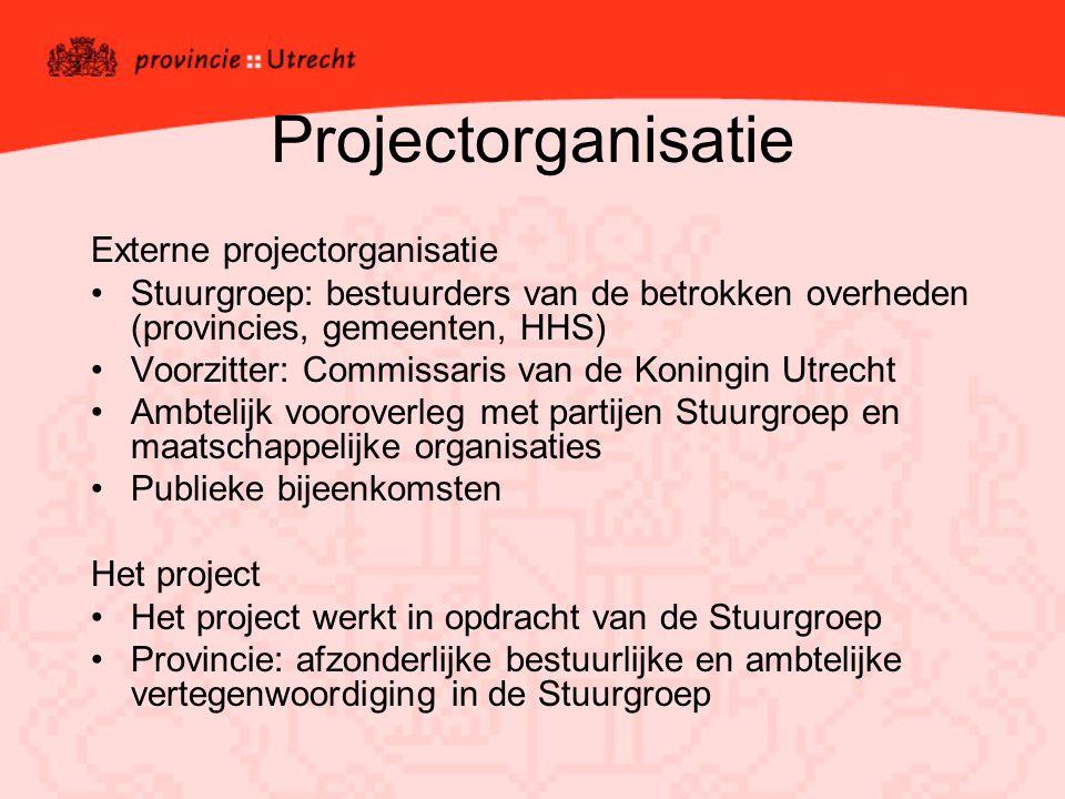 Projectorganisatie Externe projectorganisatie Stuurgroep: bestuurders van de betrokken overheden (provincies, gemeenten, HHS) Voorzitter: Commissaris