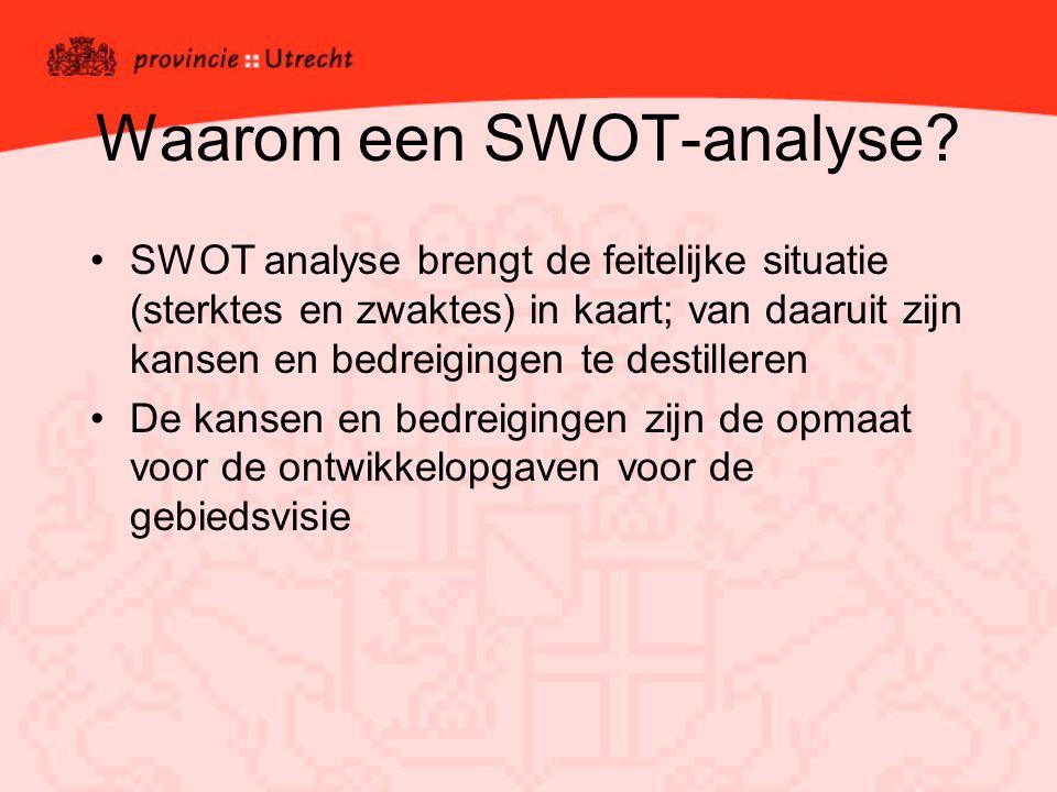 Waarom een SWOT-analyse? SWOT analyse brengt de feitelijke situatie (sterktes en zwaktes) in kaart; van daaruit zijn kansen en bedreigingen te destill