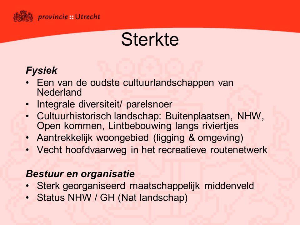 Sterkte Fysiek Een van de oudste cultuurlandschappen van Nederland Integrale diversiteit/ parelsnoer Cultuurhistorisch landschap: Buitenplaatsen, NHW, Open kommen, Lintbebouwing langs riviertjes Aantrekkelijk woongebied (ligging & omgeving) Vecht hoofdvaarweg in het recreatieve routenetwerk Bestuur en organisatie Sterk georganiseerd maatschappelijk middenveld Status NHW / GH (Nat landschap)