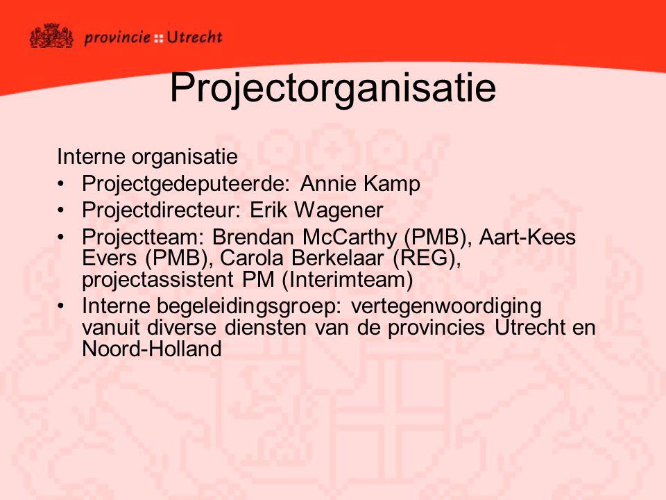 Projectorganisatie Interne organisatie Projectgedeputeerde: Annie Kamp Projectdirecteur: Erik Wagener Projectteam: Brendan McCarthy (PMB), Aart-Kees E