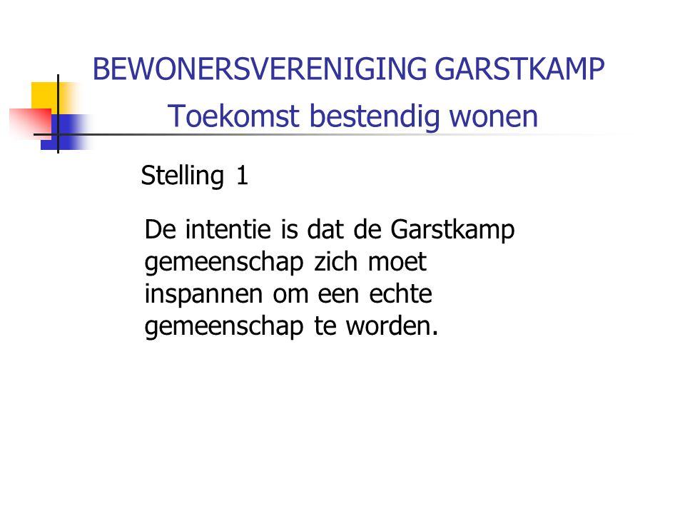 BEWONERSVERENIGING GARSTKAMP Toekomst bestendig wonen Stelling 1 De intentie is dat de Garstkamp gemeenschap zich moet inspannen om een echte gemeenschap te worden.