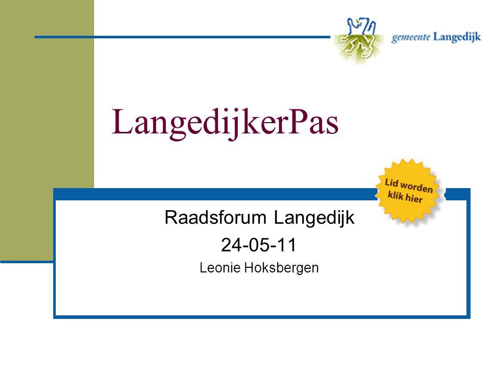 Stelling 3 De LangedijkerPas is er primair voor minimum inkomens EENSONEENS