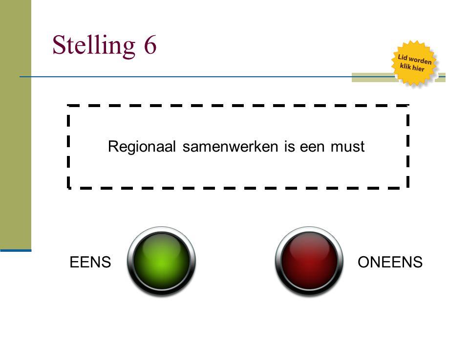 Stelling 6 Regionaal samenwerken is een must EENSONEENS