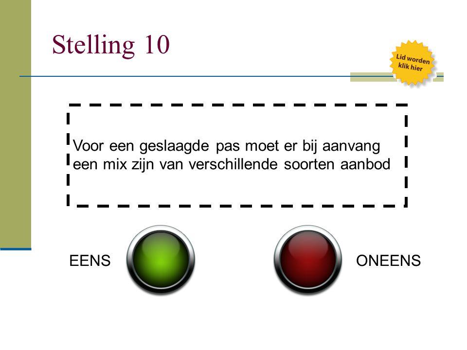 Stelling 10 Voor een geslaagde pas moet er bij aanvang een mix zijn van verschillende soorten aanbod EENSONEENS