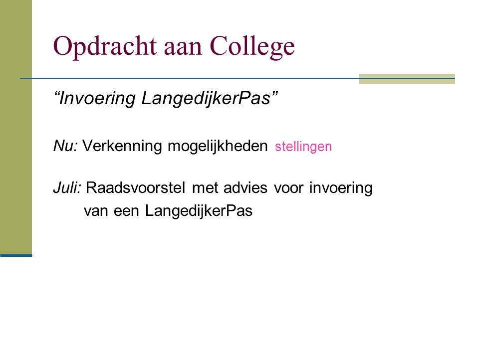 """Opdracht aan College """"Invoering LangedijkerPas"""" Nu: Verkenning mogelijkheden stellingen Juli: Raadsvoorstel met advies voor invoering van een Langedij"""