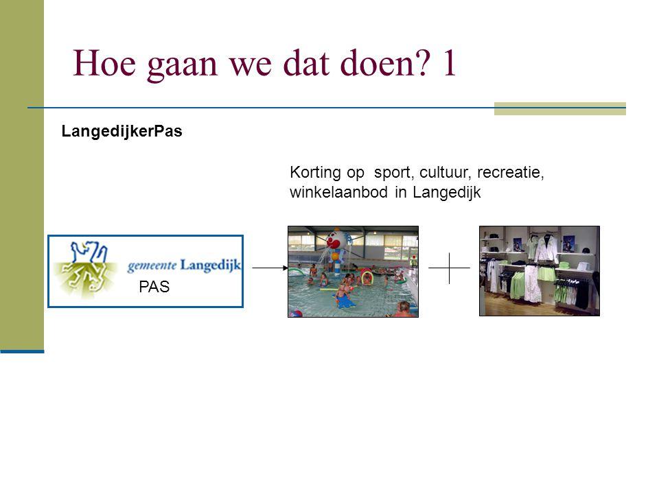 Hoe gaan we dat doen? 1 PAS LangedijkerPas Korting op sport, cultuur, recreatie, winkelaanbod in Langedijk