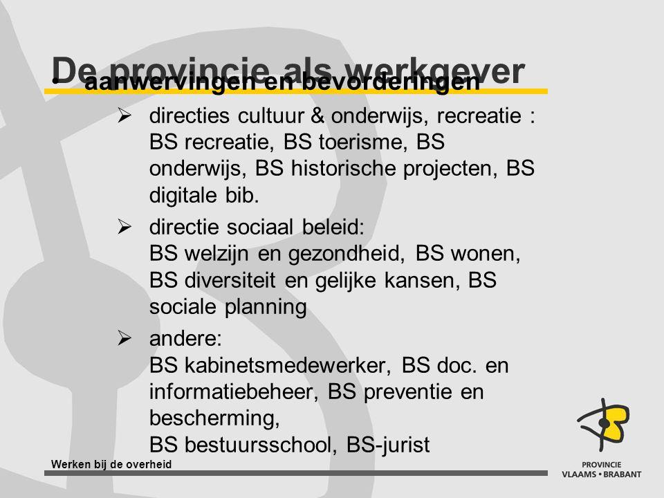 Werken bij de overheid De provincie als werkgever aanwervingen en bevorderingen  directies cultuur & onderwijs, recreatie : BS recreatie, BS toerisme, BS onderwijs, BS historische projecten, BS digitale bib.