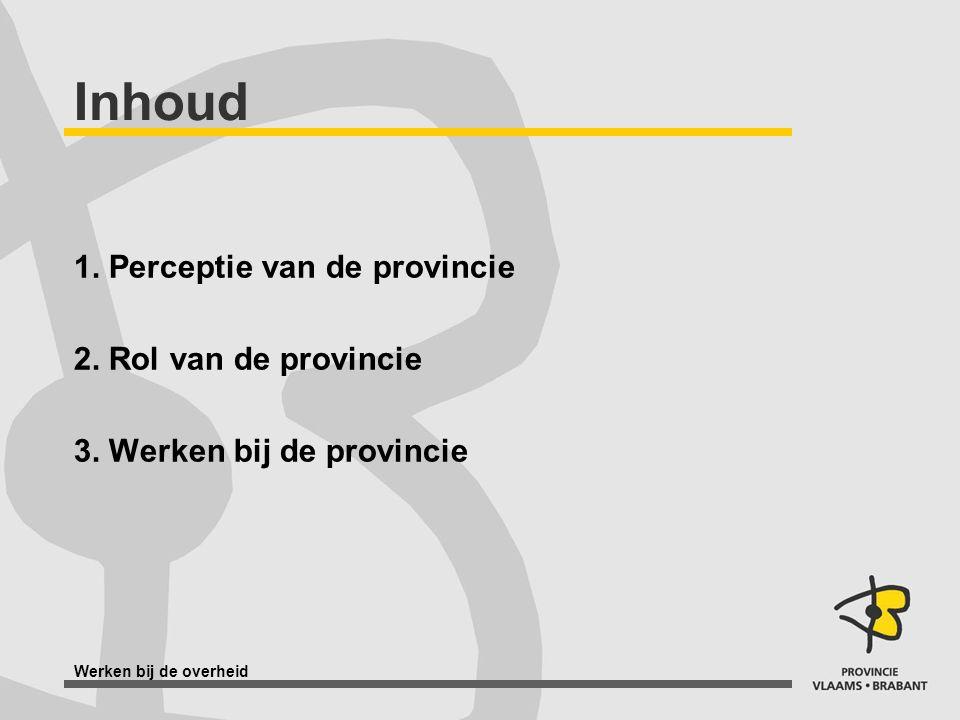 Werken bij de overheid Inhoud 1. Perceptie van de provincie 2. Rol van de provincie 3. Werken bij de provincie
