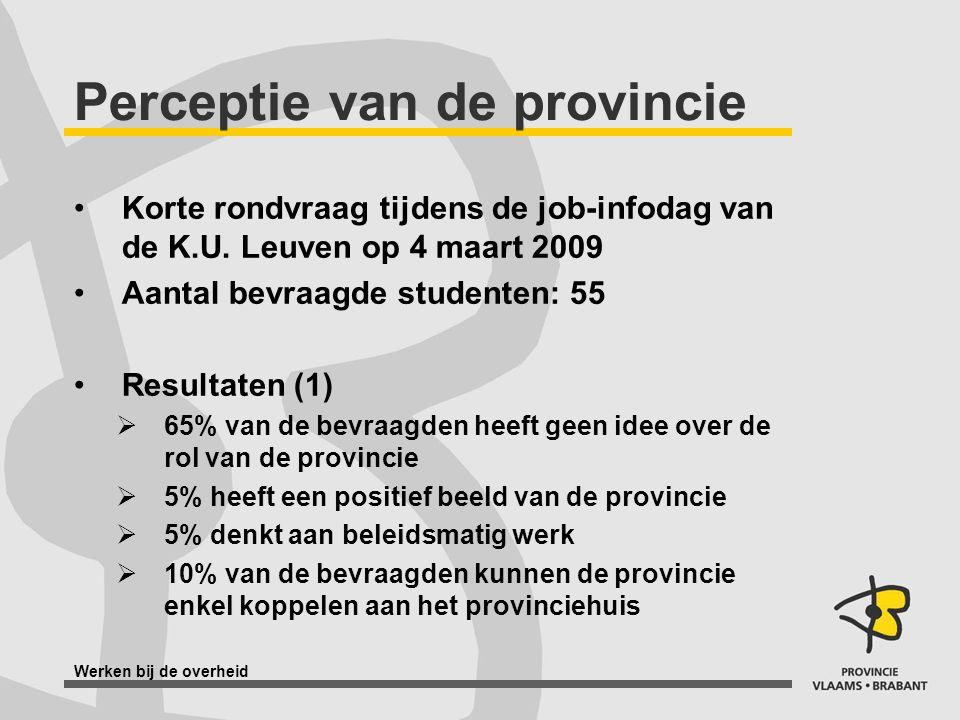 Werken bij de overheid Perceptie van de provincie Korte rondvraag tijdens de job-infodag van de K.U. Leuven op 4 maart 2009 Aantal bevraagde studenten