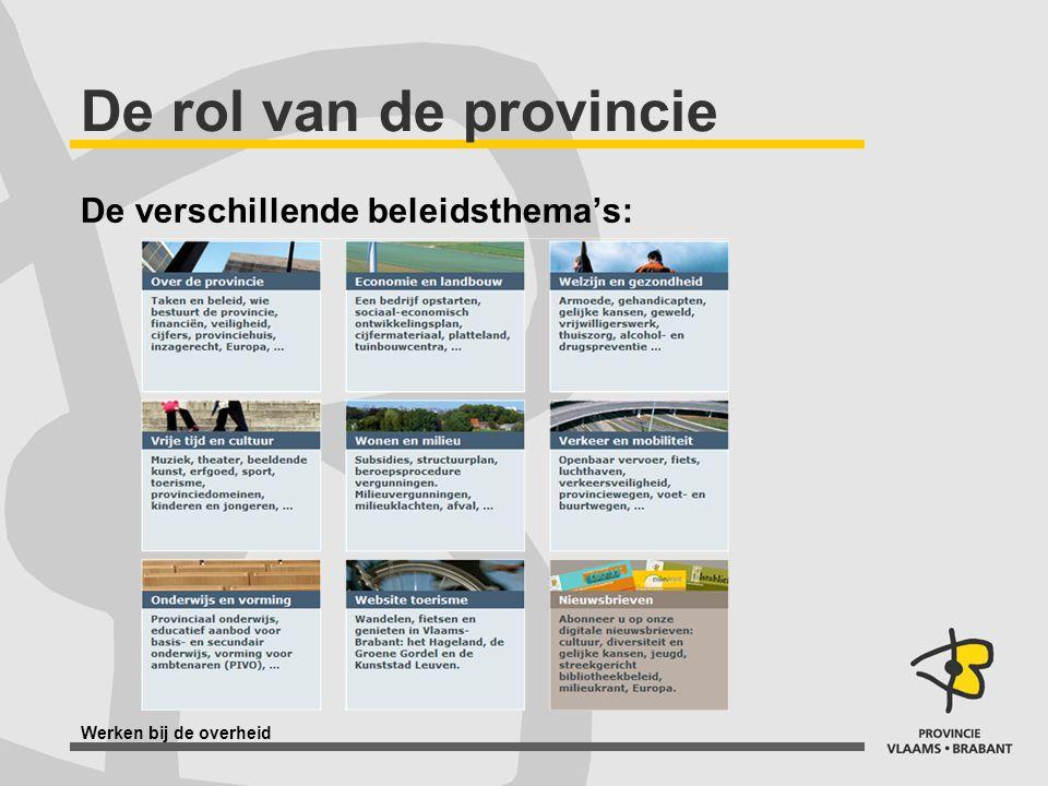 Werken bij de overheid De rol van de provincie De verschillende beleidsthema's: