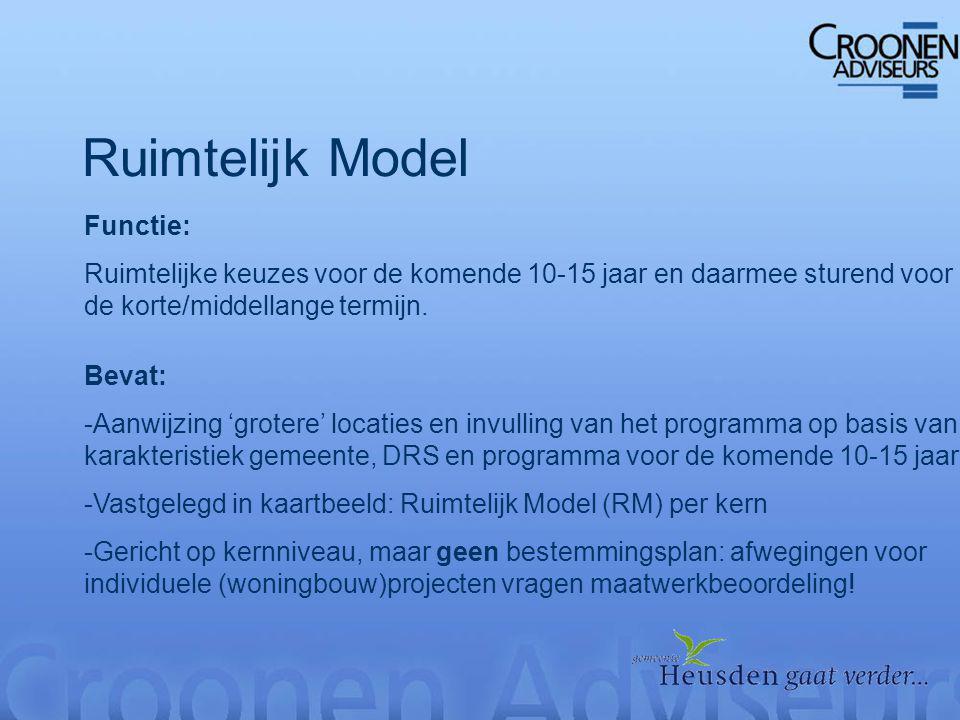 Ruimtelijk Model Functie: Ruimtelijke keuzes voor de komende 10-15 jaar en daarmee sturend voor de korte/middellange termijn.