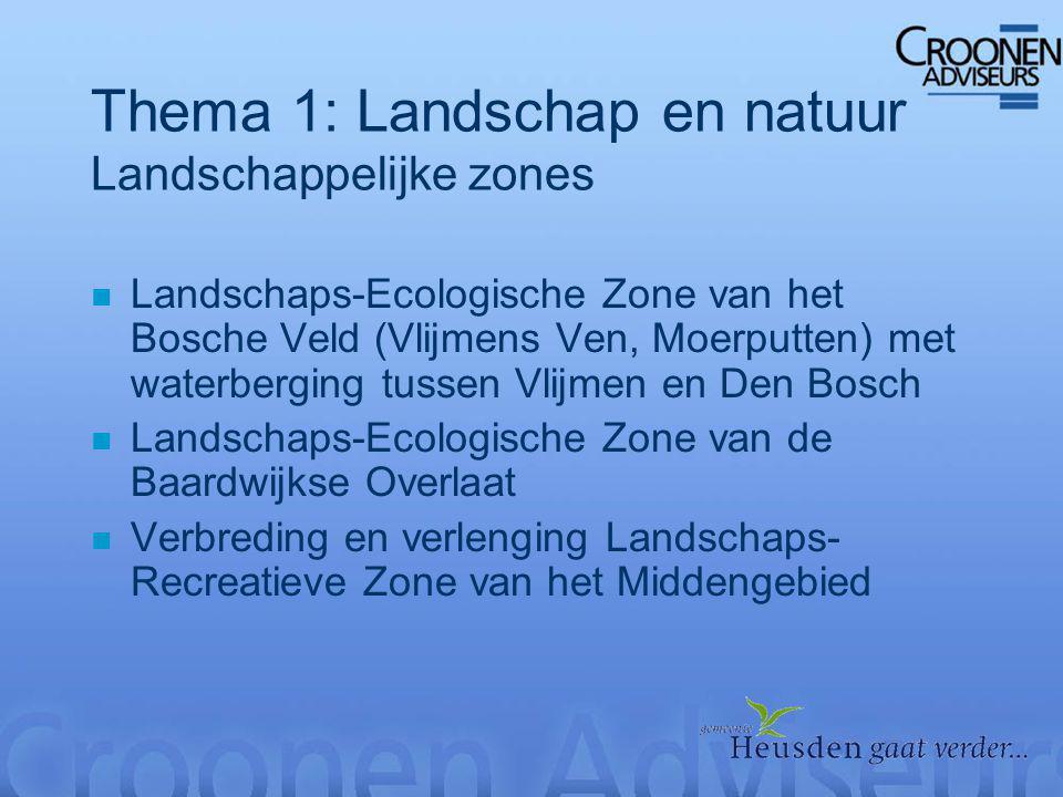 Thema 1: Landschap en natuur Landschappelijke zones n Landschaps-Ecologische Zone van het Bosche Veld (Vlijmens Ven, Moerputten) met waterberging tussen Vlijmen en Den Bosch n Landschaps-Ecologische Zone van de Baardwijkse Overlaat n Verbreding en verlenging Landschaps- Recreatieve Zone van het Middengebied