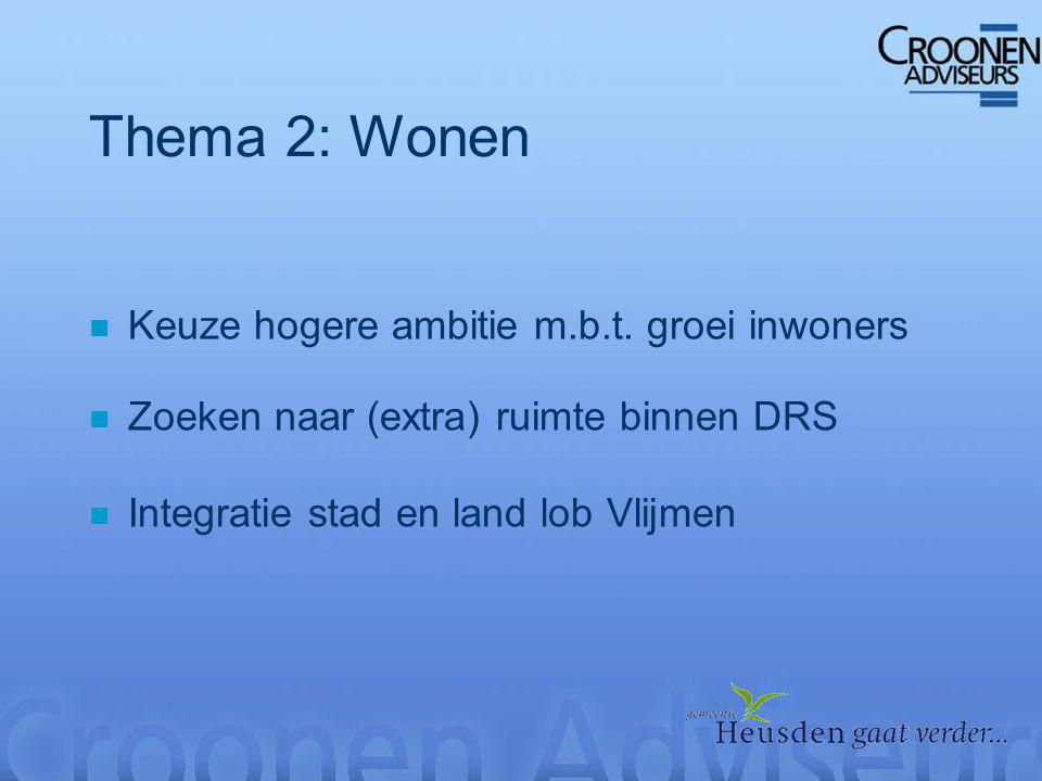 Thema 2: Wonen n Keuze hogere ambitie m.b.t.