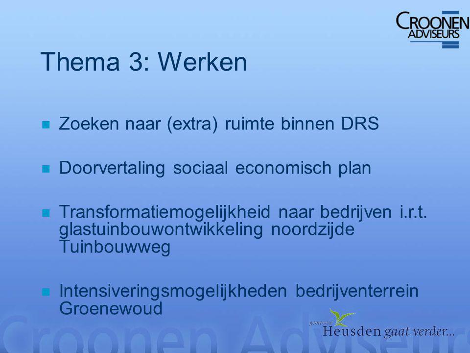 Thema 3: Werken n Zoeken naar (extra) ruimte binnen DRS n Doorvertaling sociaal economisch plan n Transformatiemogelijkheid naar bedrijven i.r.t.