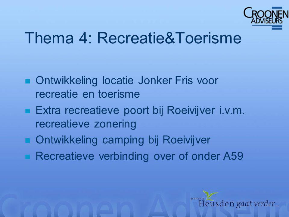 Thema 4: Recreatie&Toerisme n Ontwikkeling locatie Jonker Fris voor recreatie en toerisme n Extra recreatieve poort bij Roeivijver i.v.m.
