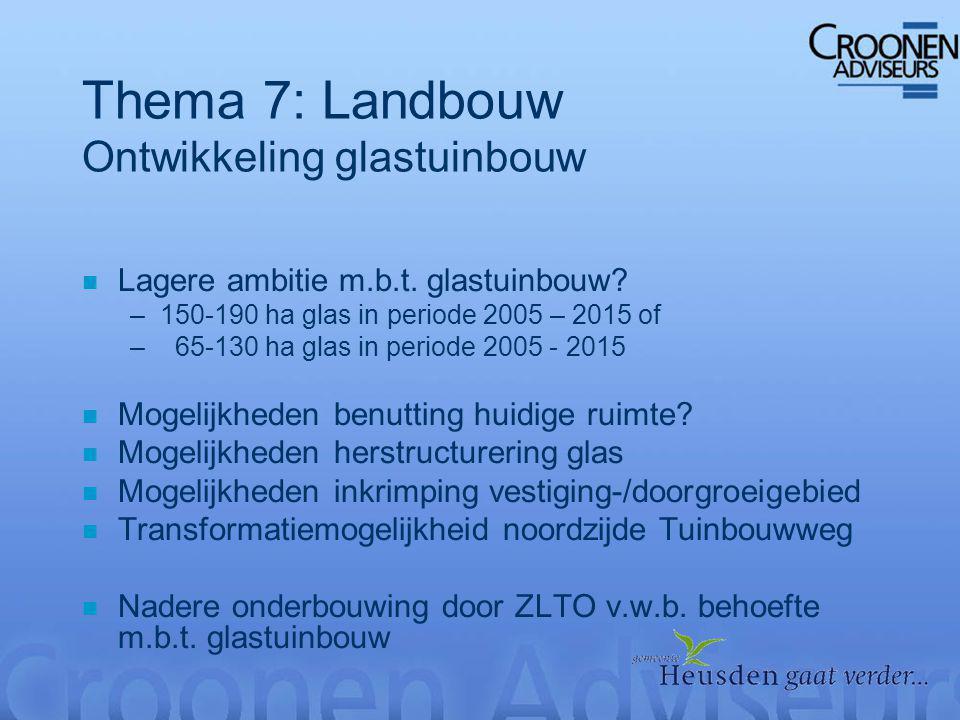 Thema 7: Landbouw Ontwikkeling glastuinbouw n Lagere ambitie m.b.t.