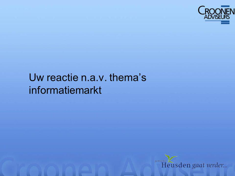 Uw reactie n.a.v. thema's informatiemarkt
