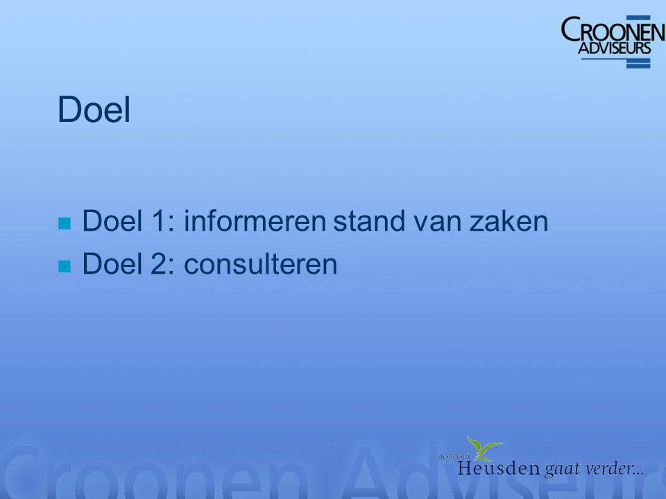 Doel n Doel 1: informeren stand van zaken n Doel 2: consulteren