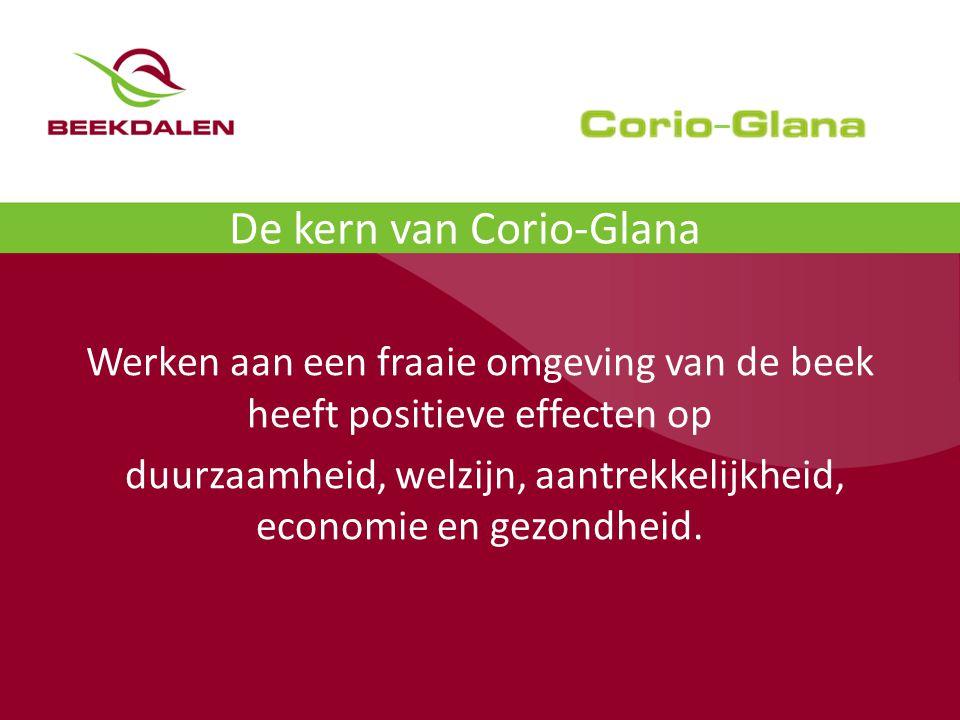 De kern van Corio-Glana Werken aan een fraaie omgeving van de beek heeft positieve effecten op duurzaamheid, welzijn, aantrekkelijkheid, economie en gezondheid.